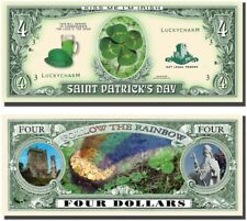 Set of 1000 - St. Patrick's Day Four Leaf Clover 4 Dollar Money Bill Lucky Note