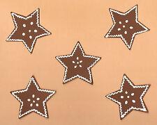 5 Lebkuchen-Sterne-Fensterbild-Weihnachten-Geschenkanhänger-Fensterdekoartion