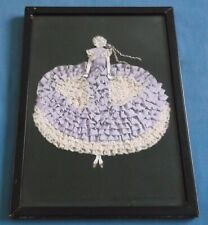 VINTAGE CRINOLINE LADY DAINTY RIBBONS LACE HAND STITCHED PICTURE PANEL RARE
