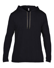 Anvil Men's Long Sleeve Casual Hooded T Shirt 2xl Black/dark Grey