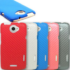 Carbon Fibre Inspired PU Leather Back Case Cover Skin Pouch For New HTC ONE X