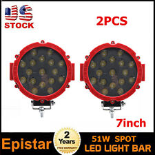 2X 7inch 51W LED Work Light Spot Red Round Off-road Driving Front ATV Boat 60W