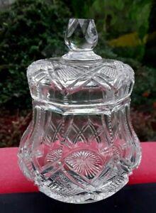 VINTAGE CRYSTAL JAR OR POT WITH LID JAM HONEY MARMALADE TRINKETS MULTI USE FAB