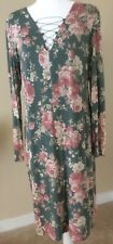 Women's size XL Green and Pink Floral dress long sleeve casual