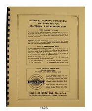 Sears Craftsman 113.29350 Radial Arm Saw Op and Parts List Manual #1498