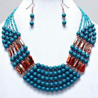 Necklace Earrings Chunky Bold Blue Faux Pearl Bead Multi Strand Jewelry Set