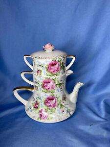 Vintage Lefton China 985 Hand Painted 3 Piece Teapot Cream Sugar With Lid
