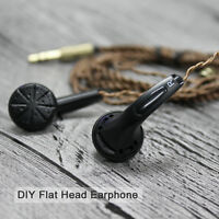 EMX500 In-ear Earphone Flat Head Plug Earbuds DIY HiFi Heavy Bass Headphone DJ