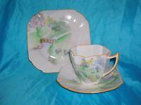 Rare Shelley Sheep Trio Cup Saucer Tea Plate Queen Anne