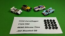 �6 Silicone Tires�For Tyco Pro Curve Hugger Hp2 .460 mounted Ho slot car part