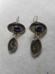 Artisn SMB 925 sterling & amethyst earrings w/ sikver & copper accent drop
