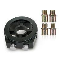 Oil Filter BLACK Adapter Sandwich Plate Mount Gauge Pressure Temp Sensor 3/4-16