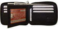 Genuine Leather Mens Zipper Zip-Around Center ID Credit Card Bifold Wallet Bk