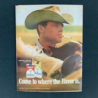 "1971 MARLBORO MAN 70s Horse Rancher Cigarette Tobacco Vintage Print Ad 13.5""1971"