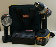 "Ryobi P201 18V 1/2"" Drill & Flashlight W/ Battery & Charger Fast Free Shipping"