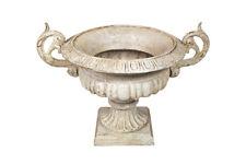 Französische Vase Henkel Pflanztopf Gusseisen Schwer Amphore Antik-Stil Weiß
