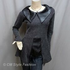 Hippie Large Collar Patchwork Fashion Tunic Top Gray XS