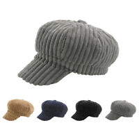NEW Women's Novelty Corduroy Solid Octagonal Caps Painter Hat Casual Berets Caps