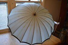 parasol antique vintage umbrella-black white checked-wood-prop movies