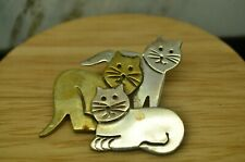 925 STERLING SILVER & BRASS KITTY CAT TRIO LAPEL PIN  #28090