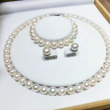 HUGE AAA 9-10MM SOUTH SEA WHITE PEARL NECKLACE BRACELET EARRING SET 14K GOLD