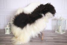 Genuine Natural Black White Icelandic Sheepskin Rug long fur #ISLSKL8