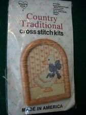 """What's New """"Country Quacker"""" Cross Stitch Kit with Frame Size 2 1/2"""" x 3 1/4"""""""