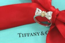 Tiffany & Co. Silver & 18kt Gold Ribbon Bow Ring Size 5 w/ Packaging