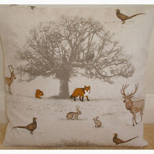"""16"""" Cushion Cover Fox Squirrel Stag Pheasant Owl Rabbit Tree Taupe Woodland"""