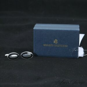 NIB Brooks Brothers Silver Metal Black Border Toggle Classic Simple Cufflinks NR