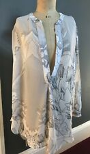 -NEXT - fabulous grey/white top /blouse / beach cover up / swimwear - Size 14