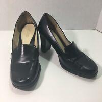 Rialto 7 M Brown Square Block Toe Slip On Chunky Heel Work Loafer Shoe Heel Pump