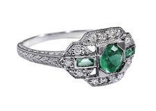 Art-Déco Ring mit Smaragd und Diamanten RG 54