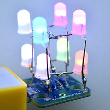 2x2x2 RGB Color Changing LED Cube Unassembled DIY Kit - Video + PDF Tutorials