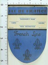 1930's-40's Ile De France French Line Steamer Luggage Label Vintage Original E7