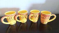 Pier 1 Karistan Large Coffee Mugs x4 Yellow,Orange Ovals,Berries & Scrolls