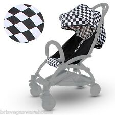 Black White Canopy Hood Seat Pad Liner Set For Most Compact Stroller