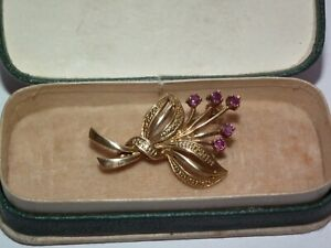 Beautiful, Vintage c1960s Solid 9ct Gold Natural Ruby Set Floral Brooch Boxed