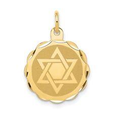 14k Yellow Gold Solid & Satin Finish Diamond Cut Small Star of David Medal Charm