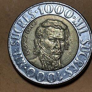 Ecuador 1000 Sucres Current Circulated Bimetallic Coin Dated 1996