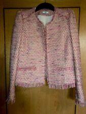 Mango Pink Tweed Puff Shoulder Jacket M-L (10-12)