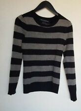 e81c1065f5d708 FRENCH CONNECTION WOMEN S LONG SLEEVE CREW NECK STRIPED SWEATER BLACK GREY  SMALL