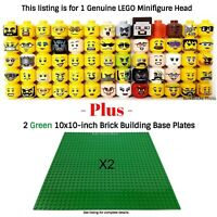 1 LEGO Minifigure Head PLUS 2 Green 10x10-inch 32x32-stud compatible base plates