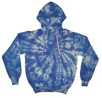 TIE DYE HOODIE Blue Spiral Hipster Tye Die Jumper Festival Rainbow T Shirt Tee