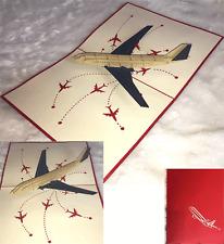 """Carte d'anniversaire toute occasion Félicitation """"Avion"""" en 3D kirigami Pop Up"""