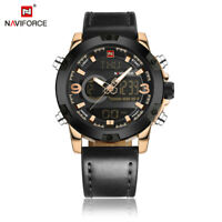 Naviforce Luxury Men Military Leather Dual Time Quartz Digital Sports Watch 9097
