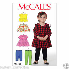 McCall's 7458 Sewing Pattern to MAKE Toddlers' Gathered Tops, Dresses & Leggings