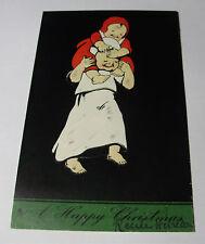 K274 - 1905 HAPPY CHRISTMAS Father & Son POSTCARD Embossed Raphael Tuck No 8256