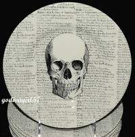 Royal Stafford / Victorian English 7 SALAD PLATES Halloween Skull & Script, NEW