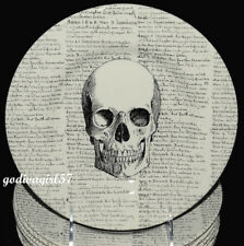 Royal Stafford * 6 SALAD PLATES * Halloween Skull & Script, England, NEW